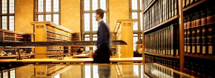 Law students study in the Law library at Myron Taylor Hall.
