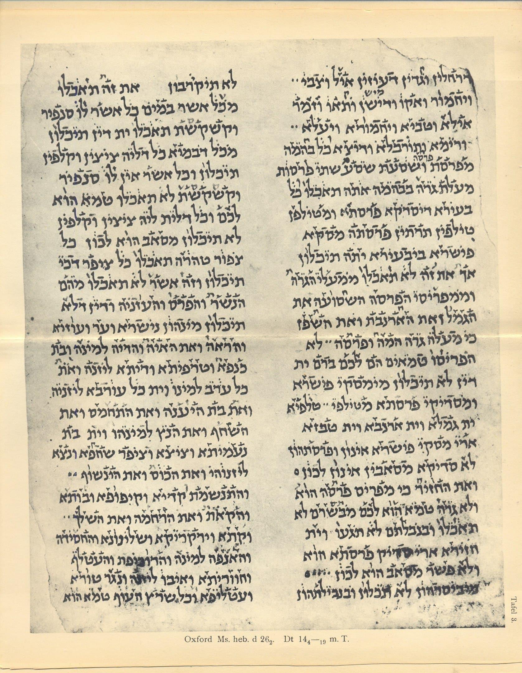 Hebrew manuscript with babylonian vocalization, 1913, Paul Kahle, Masoreten des Ostens, Leipzig 1913, plate 3.